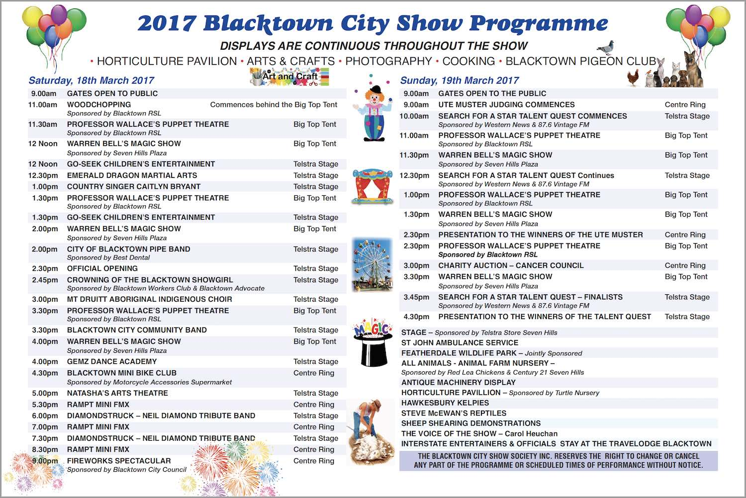 blacktown city show programme